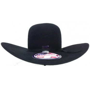 "American Hat Company 60X Black Open Crown 4 1/2"" Brim 6"" Crown Felt Cowboy Hat"