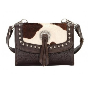 American West Texas Two Step Cowhide Crossbody Purse