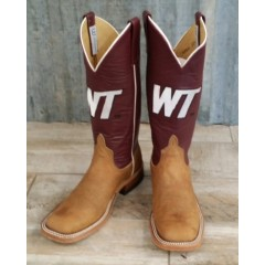Anderson Bean WTAMU Brown Distressed Bison Cowboy Boots