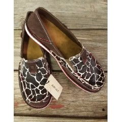 Ariat Ladies Chocolate Chip Suede Giraffe Print Cruiser Slip On