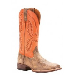 Ariat Mens Pecos Tack Room Melon and Blackened Tan Square Toe Cowboy Boots
