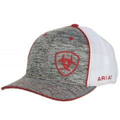 Ariat Grey and Red Snapbacl Cowboy Cap