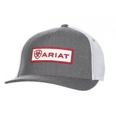 Ariat Grey and White Snap Back Cowboy Cap