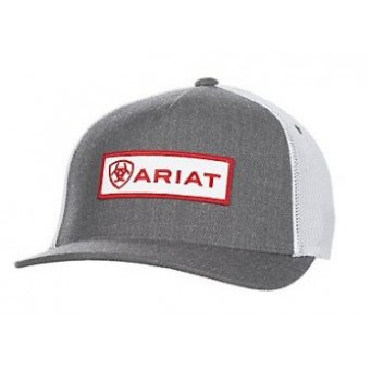 Ariat Gray, White, and Red Cowboy Cap