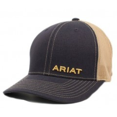 Ariat Navy and Light Tan Mesh Back Snap back Cap