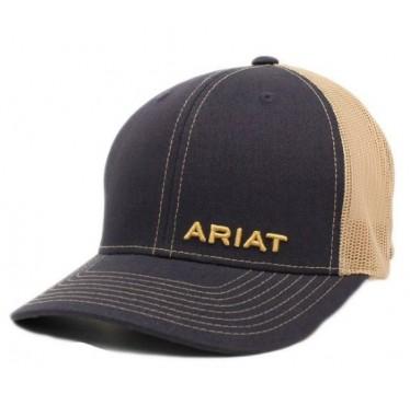 Ariat Navy and Light Tan Mesh Back Snap back Cap