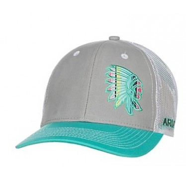 Ariat Ladies Turquoise, Grey, and White Indian Head Snap Back Cap