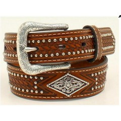 Ariat Kids Belt Basketweave Diamond Shape Conchos Boys Western Belt