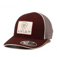 Ariat Burgundy and Grey Mesh Back Cowboy Cap