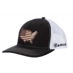 Ariat Black and White USA Snapback Cowboy Cap