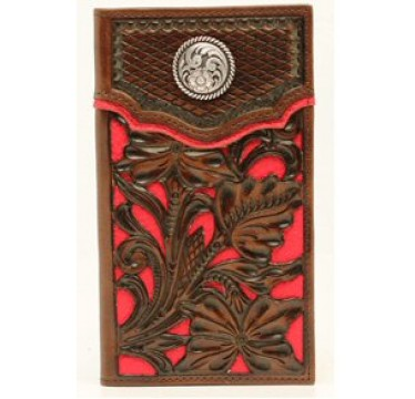 Nocona Brown with Red Inlay Rodeo Wallet
