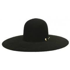 "Atwood Hat Company 5X Open Crown 4.5"" Brim Black Felt Hat"