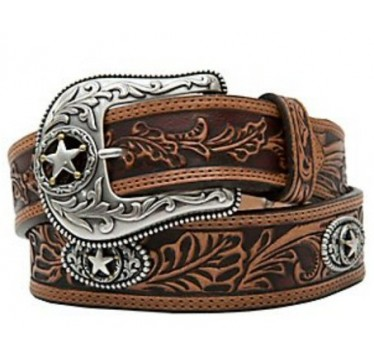 Justin Mens Belt Tooled Floral Inlay Leather with Conchos Mens Cowboy Belt