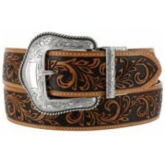 Justin Kids Belt Tan Tooled Floral Reversible Kids Cowboy Belt