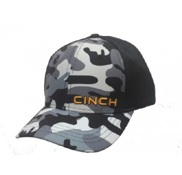 Cinch Cap  Grey Camo Mesh Trucker Cowboy Cap