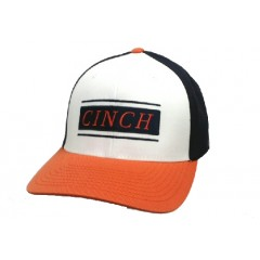Cinch Black, White, and Orange Mens Flex Fit Cowboy Cap