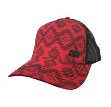 Cruel Girl Ladies Red and Black Aztec Snap Back Cap