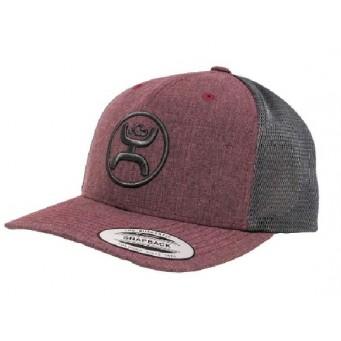HOOey Cody Ohl Burgundy Grey Snap Back Cowboy Hat