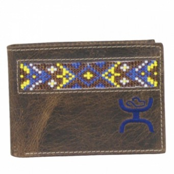 HOOey Signature Chocolate Brown With Beading Front Pocket Bifold Wallet