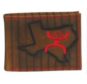 HOOey Signature Brown and Red Texas Bi Fold Wallet