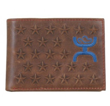 HOOey Stars Brown, Red, and Blue Bi Fold Wallet