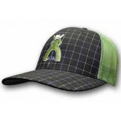 HOOey Cap Grid Punchy Navy And Green Plaid Trucker Cowboy Cap