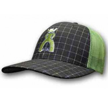 HOOey Grid Navy And Green Plaid Trucker Cowboy Cap