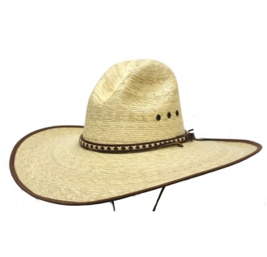 "Hat Biz Cowboy Hat  Gus Crown 4.5"" Brim Palm Straw Cowboy Hat"