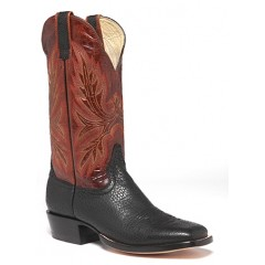 Hondo Boots Black North American Bison Men's Cowboy Boots