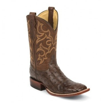 Justin Men's Tobacco Brown Full Quill Ostrich Exotic Cowboy Boots