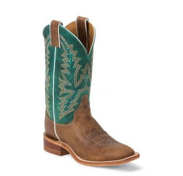 Bent Rail by Justin Cowboy Boots Turquoise Ponteggio Calf Ladies Cowboy Boots