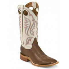 Bent Rail by Justin Cowboy Boots White and Brown Mens Cowboy Boots