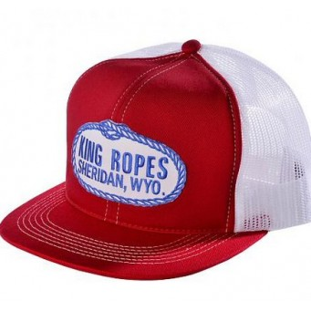 King Ropes Cap Red and White Mesh Back Trucker Cap