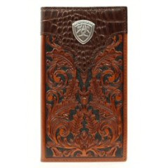 Ariat Brown Tooled Rodeo Wallet