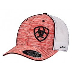 Ariat Heather Red and White Snap Back Cowboy Cap