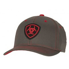 Ariat Grey and Red Flex Fit Cowboy Cap