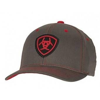 Ariat Gray and Red Flex Fit Cowboy Cap