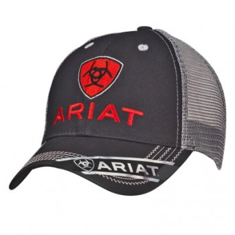Ariat Black and Grey Adjustable Cowboy Cap