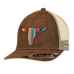 Ariat Brown and Tan Snap Back Cowboy Cap