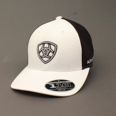 Ariat White and Black Snap Back Cowboy Cap