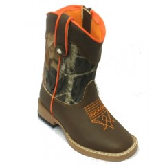 M&F Double Barrel Buckshot Brown Camo Kids Boot