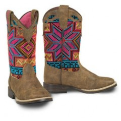 M&F Blazin Roxx Hailey Bright Multi Colored and Brown Cowgirl Boots