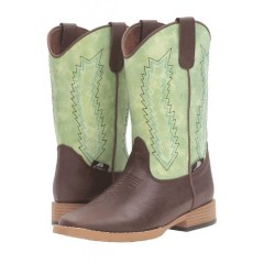 M&F Double Barrel Wyatt Light Green and Tan Childrens Cowboy Boot