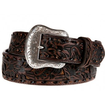 Men's Nocona Brown Overlay Belt With Whipstitch
