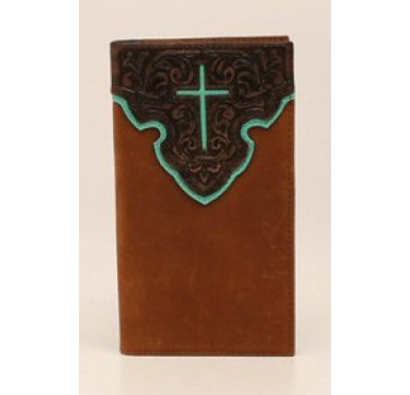 Nocona Tooled Leather with Turquoise Cross Rodeo Wallet