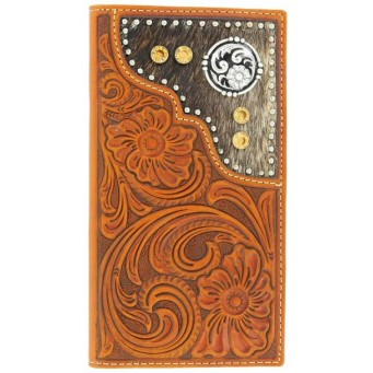 M&F Nocona Tooled  Hair On Amber Crystals Leather Checkbook Cover