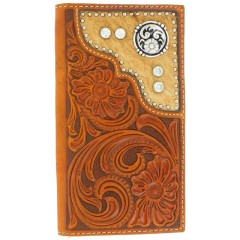 M&F Nocona Tooled Leather Silver Crystals Checkbook Cover