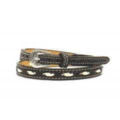 Twister Ivory Rawhide Lacing Black Hat Band