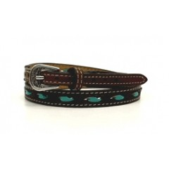 Twister Turquoise Rawhide Lacing Brown Hat Band