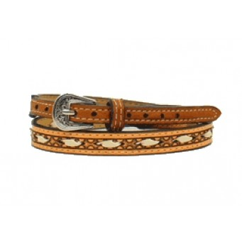 Twister Ivory Rawhide Lacing Brown Hat Band